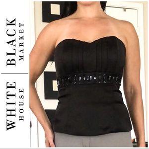WHBM Jeweled Black Satin Corset Peplum Top